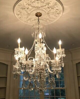 Magnificent Bronze Crystal Italian Dining Room Entry Chandelier