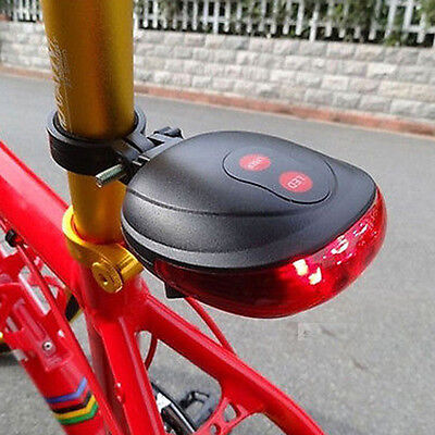 2 Laser+5 LED Rear Bike Bicycle Tail Light Beam Safety Warning Red Lamp 4Y