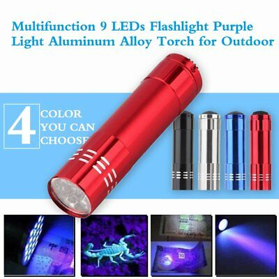 Mini Aluminum UV ULTRA VIOLET 9 LED FLASHLIGHT BLACKLIGHT Torch Light Lamp WR