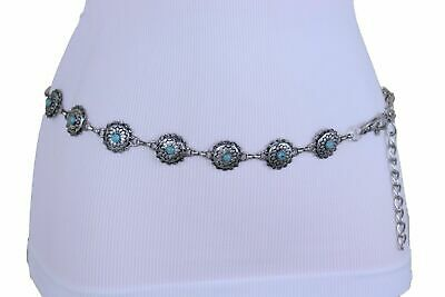 Women Artsy Vintage Belt Ethnic Antique Silver Metal Chains Turquoise Blue S M