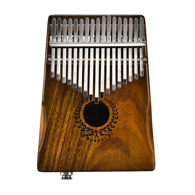 17 Keys EQ Kalimba Solid Acacia Thumb Piano Link Speaker Electric Pickup F6O0