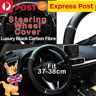 Universal Luxury Auto Steering Wheel Cover Carbon Pattern PU Leather Car Cover