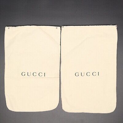 Gucci Flannel Shoe Bags Cream Gray Logo Drawstring Storage Dust Covers Italy