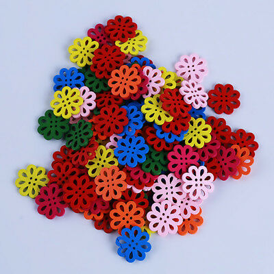 DIY Wood Buttons Sewing Scrapbooking Flowers Shaped 4 Holes Mixed Crafts B