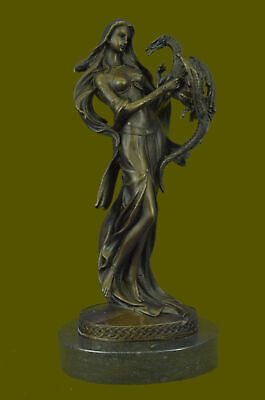Bronze Sculpture Semi Nude Lady Nymph with Dragon Museum Quality Artwork Figure