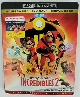 Incredibles 2 DVD (4k Ultra HD/Blu-ray/Digital HD) Pixar w/ Slive