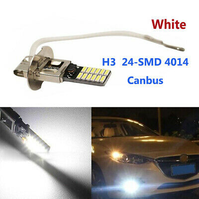 2X H3 6500K 24-SMD 4014 Bright Head Bulb Car Fog Light Daytime running Lamp LED