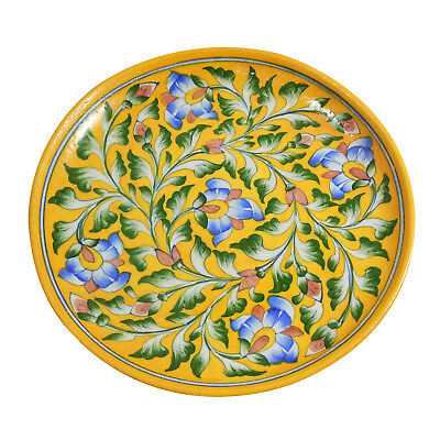 "Handmade Decorated Blue Pottery Art 10"" Inch Ceramic Wall Plate Collector Plate"