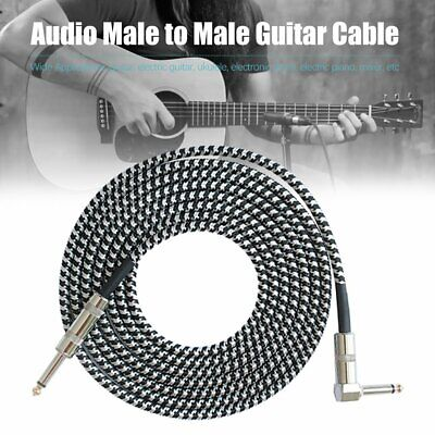 3M Guitar Lead 1 Right Angle Jack Noiseless Braided Tweed Instrument Cable YZ