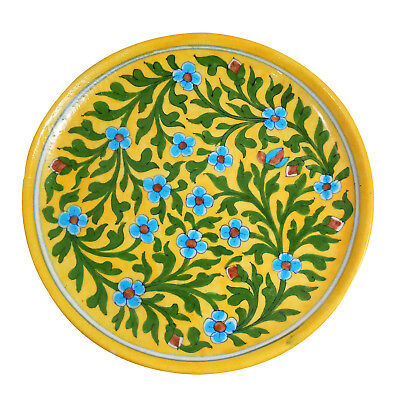 "Plate Wall Collector Plate 10"" Inch Ceramic Handmade Decorated Blue Pottery Art"