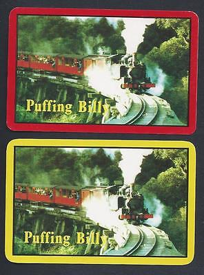 #920.758 vintage swap card -NEAR MINT pair- Steam Train, Puffing Billy