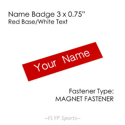 """Name Badge Tag Plate Red/White Magnet 3x0.75"""" Personalised Engraved Employee ..."""