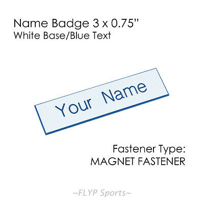 """Name Badge Tag Plate White/Blue Magnet 3x0.75"""" Personalised Engraved Employee..."""