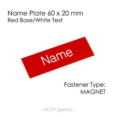 Name Badge Tag Plate Red/White Magnet 60x20mm Personalised Engraved Employee