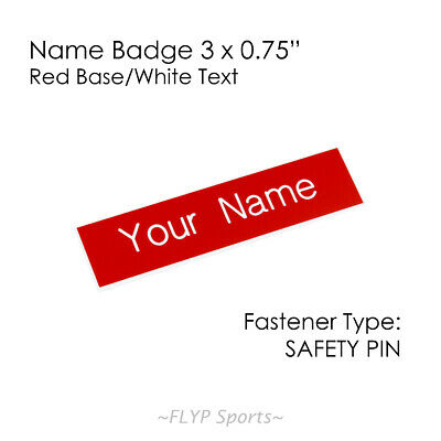 """Name Badge Tag Plate Red/White Safety Pin 3x0.75"""" Personalised Engraved Custo..."""