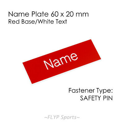 Name Badge Tag Plate Red/White Safety Pin 6x2cm Personalised Engraved Employee
