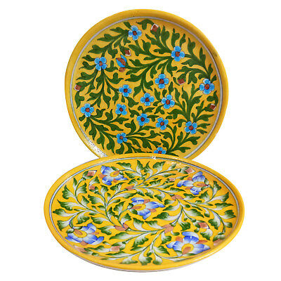 Set of 2 Handmade Decorated Blue Pottery Art 10 Inch Ceramic Dinner/ Lunch Plate