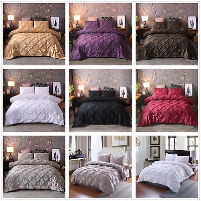 Pintuck Pleated Luxury Duvet Cover Quilt Cover Bedding Set Single Double King