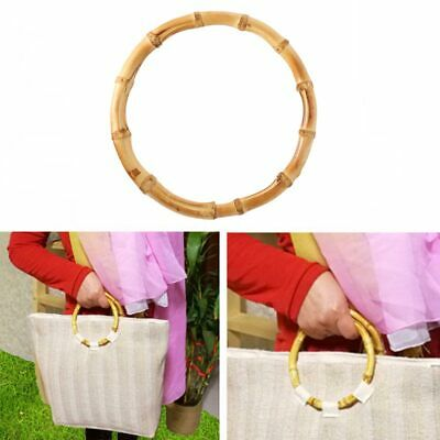 Vintage Round Bamboo Handle Handmade DIY Craft Handbag Bag Accessories B