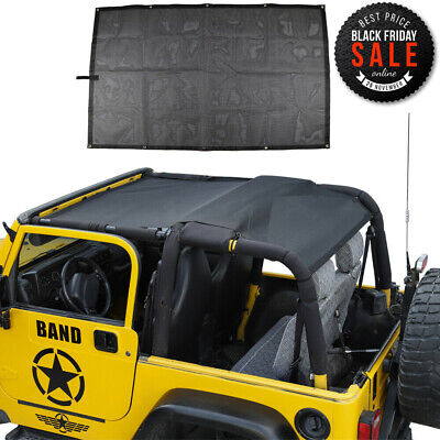 Fit Jeep Wrangler 97-06 TJ Mesh Shade Top cover Sunshade UV Protection Black PVC
