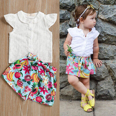 AU Stock Infant Baby Girl Cotton Tops T-shirt+Floral Pants Shorts Summer Outfits