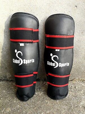 Global Sports Shin Guards, Protectors, Pads - Black/Red, Size L