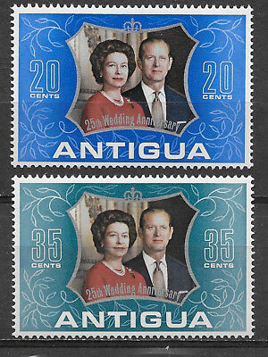 Antigua , 1972, Elizabeth Ii , 25Th Wedding Anniv. , Set Of 2 , Perf , Mnh