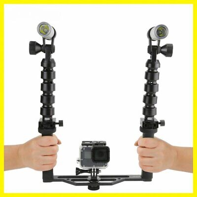 Black Durable Diving Two Handle Handheld Stabilizer with Flashlights for GoPro C