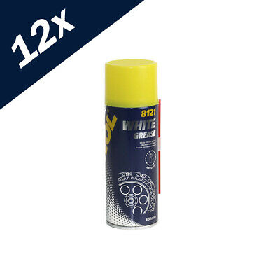 8121 MANNOL 12 x White Grease 450ml Lubrication Spray Can Aerosol