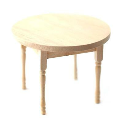 Dollhouse Miniature Round Unfinished Kitchen Table 1:12 Scale Furniture