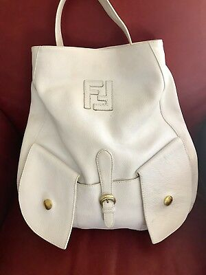 2e0a8d2770 Authentic FENDI White Pebble Leather Large Hobo Bag W  Dust bag