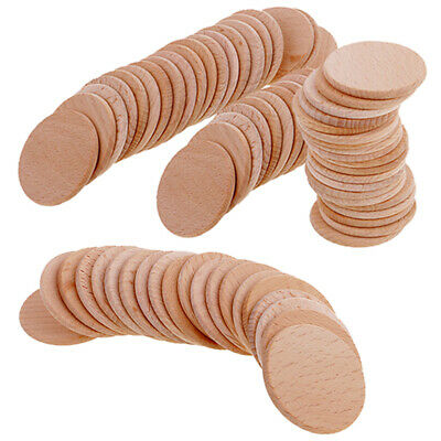 70pcs Round Unfinished Wood Pieces for DIY Painting Drawing Engraving 36mm
