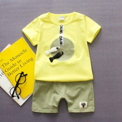 Baby Boy Girl T-Shirt Clothes Cartoon Summer Cotton Sleeveless Outfits  J⊥