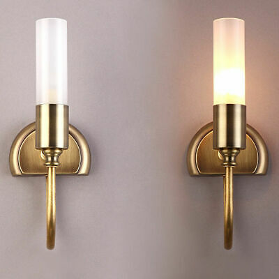 LED Indoor Wall Light Cylinder Glass Shade Wall Sconces with Curved Arm in Brass