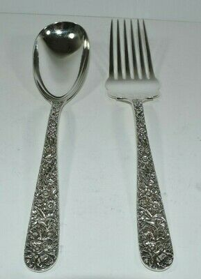 Antique Kirk & Son Co Repousse Serving Spoon 9 1/2 And Meat Fork 9 7/8 Beautiful