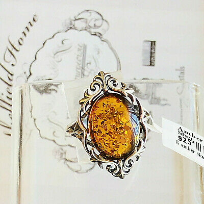 Baltic Amber Ring Size 8,0 Genuine Russian Vintage Butterscotch Egg Yolk Polish