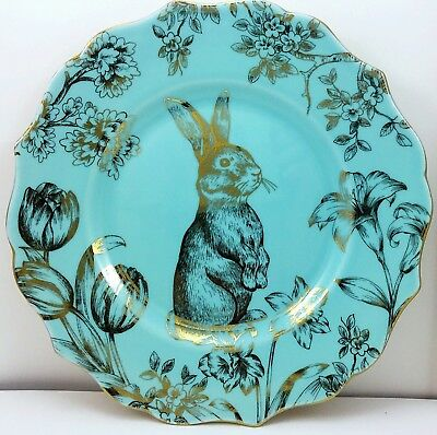 222 Fifth Bunny Hill Salad Dessert Plates Turquoise & Gold 3 Ct