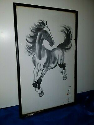 Xu Beihong Galloping Horse altes Druckbild framed print by Xu Beihong 20th cent.