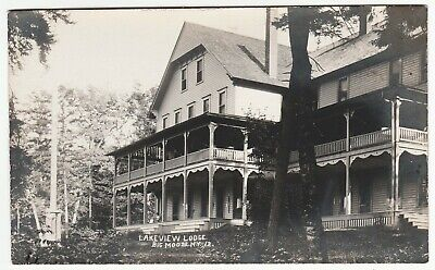 RARE Real Photos Lakeview Lodge Big Moose NY Adirondacks RPPC by Beach 1911 RPPC