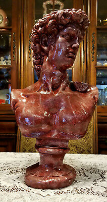 Vintage Bust of David Sculpture Statue Chalkware Plaster 8 Lbs Extra Large 20x12