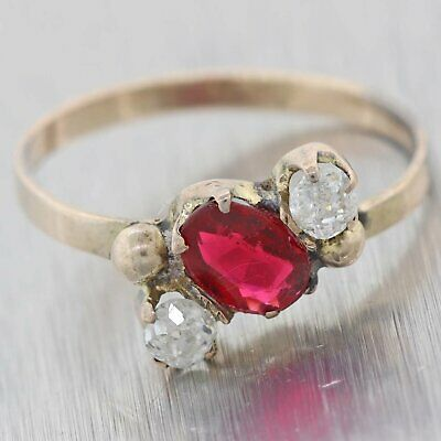 1880s Antique Victorian 9ct Yellow Gold Ruby Diamond  3 Stone Cocktail Ring