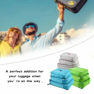 3Pcs Packing Cubes Travel Pouches Luggage Organiser Clothes Suitcase Storage GB