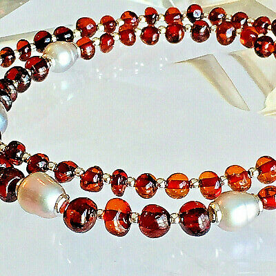 100% Genuine Vintage Russian Baltic Amber Necklace Butterscotch Egg Yolk Polish