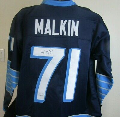 best sneakers 4b462 aec8b PENGUINS EVGENI MALKIN Authentic Signed Blue Throwback ...