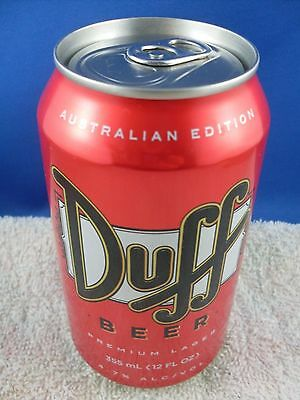 Duff Simpsons Beer Can Australian Ed Collectable Unopened Top (empty) Man Cave