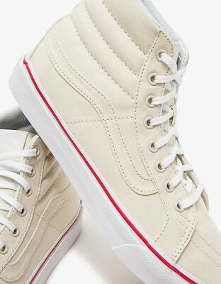 Vans Off the Wall Sk8 Hi Slim Canvas Bone True White Shoes Mens 7.5 Women 9 58bc095f9
