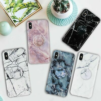 Chic Marble Design Put Up Holder Soft Case Cover Fr iPhone X XR XS Max 7 8 Plus