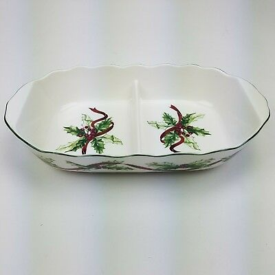 Charter Club Winter Garland Divided Serving Vegetable Bowl 1998 Retired Holiday