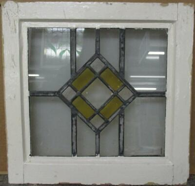 """OLD ENGLISH LEADED STAINED GLASS WINDOW Pretty Simple Diamond Design 17"""" x 17"""""""