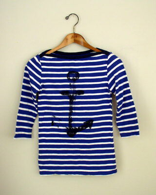 Hatley Womens Breton Top Blue White Stripe Anchor Print Boat Neck Nautical Shirt